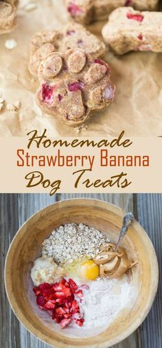 Dog biscuit recipes - These homemade dog treats are loaded with strawberries, bananas, peanut butter, and oats Everything you need to keep your dog happy and energized! The Cozy Cook DogTreats PeanutButter Strawberri Puppy Treats, Diy Dog Treats, Healthy Dog Treats, Homeade Dog Treats, Healthy Food, Healthy Eating, Frozen Dog Treats, Gourmet Dog Treats, Healthy Pets