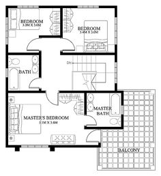 Modern house designs such as has 4 bedrooms, 2 baths and 1 garage stall. The floor plan features of this modern house design are, covered front porch, balcony over garage, walk-in clo… Two Storey House Plans, Small House Floor Plans, Home Design Floor Plans, Plan Design, Floor Design, Layout Design, Design Ideas, Two Story House Design, 2 Storey House Design