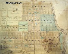 Map of Manhattan, KS, 1870's ~ Riley County Historical Museum