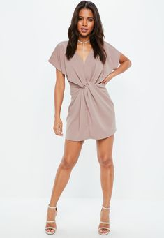 072f73a8a Mauve Wrap Short Sleeve Mini Dress