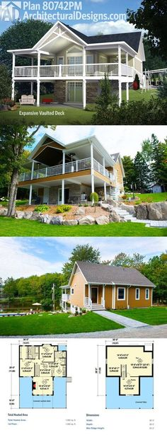 Architectural Designs 2 Bed House Plan 80742PM, shown as designed and built on a sloping lot, gives you just over 1,000 square feet of heated living space and a great vaulted deck (and patio beneath it) to enjoy the views. Ready when you are. Where do YOU want to build?