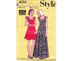 1970s Style 4014 Vintage Sewing Pattern Frilled Square Neck Dress or Maxi Dress Pattern Size 12 Bust 34 inches UNCUT Factory Folded