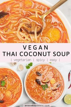 This vegan Thai coconut soup is the best because it's quick, spicy and so easy to make. In addition, it's gluten free, dairy free, perfect for meal prep, or weeknight dinners. This vegetarian coconut soup is very customizable and a great way to skip take-out. You can add tofu or other vegetables as you like and change up the flavors. This is a simple vegan soup recipe with lots of flavors to enjoy! You can make it less spicy if you like as well #vegan #vegansoup #coconutsoup #thaisou Vegetable Soup Healthy, Healthy Soup Recipes, Vegan Dinner Recipes, Delicious Vegan Recipes, Vegan Dinners, Veggie Food, Meal Recipes, Eat Healthy, Lunch Recipes