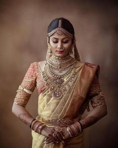 Beautiful South Indian Wedding Wear Idea :- AwesomeLifestyleFashion Different Culture have their own look and style and Kanjivaram and. Indian Bridal Sarees, Indian Wedding Wear, Saree Wedding, Punjabi Wedding, Boho Wedding, Wedding Reception, Tamil Wedding, Wedding Rings, Wedding Book