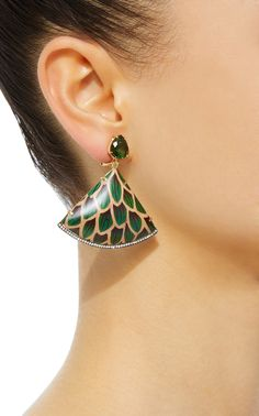 Green Marquetry Scale Fan Drop Earrings by Silvia