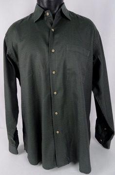 IKE BEHAR NY Mens L Hunter Green Shirt Geometric Dots Button Up LS Classic Fit #IkeBehar #ButtonFront