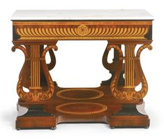 An Austrian neoclassical mahogany, fruitwood and marquetry console table -  circa 1830
