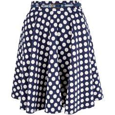 Closet Polka Dot Swing Skirt, Navy ($23) ❤ liked on Polyvore featuring skirts, navy skater skirt, retro skirts, flared skirt, knee length flared skirts and blue polka dot skirt