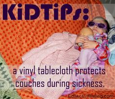 protect your couch from sickness with a vinyl tablecloth (the cloth side sticks to the couch and the slippery side can be wiped easily)