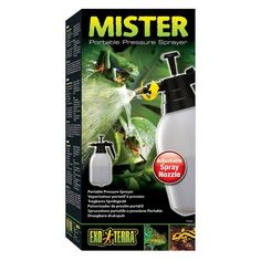 Exo Terra Mister for Reptiles is an easy-to-use pressure sprayer that eliminates the chore of using trigger sprayers. The spray nozzle can be adjusted to allow either single stream or full mist spraying, and it has a locking mechanism that allows for continuous spraying.  The large capacity reservoir holds 2 litres (67.5 fl oz) and is ideal for use with larger or multiple terrariums, outdoor set-ups, and in greenhouses.
