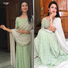 Code : Price : ( no less ) COD available Fabric : 👉 Georget gown with fully sequence embroidery work ( semi stich ) Inner attach Length 👉 Duppata nazneen with golden drops Ready to ship 👍 Salwar Designs, Kurti Designs Party Wear, Indian Gowns Dresses, Pakistani Dresses, Bollywood Anarkali Suits, Flapper Dresses, Salwar Suits, Indian Attire, Indian Ethnic Wear