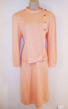 Vtg 70s Knit Skirt Sweater Set M 8 10 Peach Top Suit Career Classic Secretary  #AbeSchrader #Knits #Peach #Vintageclothing #Knitskirtset #Secretarystyle #Classicstyle