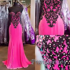 Long prom dress with top details, 2016 handmade pretty hot pink chiffon prom dress for teens,homecoming dress #coniefox #2016prom