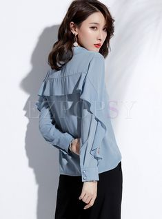Womens Fashion - Shop Solid Color Single-breasted Flouncing Chiffon Blouse at EZPOPSY. Hijab Fashion, Fashion Outfits, Womens Fashion, Pencil Skirt Outfits, Blouse Models, Traditional Fashion, Mode Hijab, Professional Outfits, Ladies Dress Design