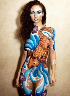 倫敦身體畫藝術家 - 錦鯉