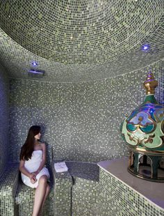 Spa Steam Room  colors would be dark purple, orchid, lilac, silver and onyx