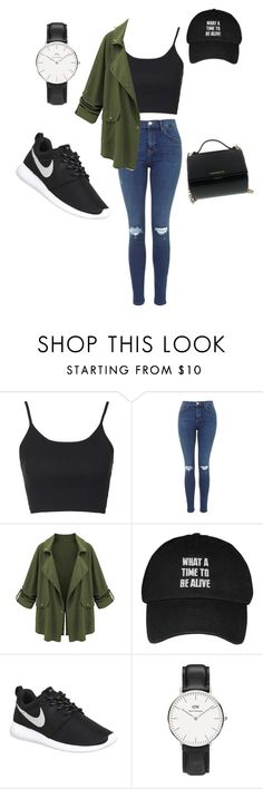 """Day out"" by yolanti ❤ liked on Polyvore featuring Topshop, NIKE, Daniel Wellington and Givenchy"