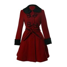 Partiss Women's Victorian Lolita Winter Wool Blend Faux Fur Trench... ($90) ❤ liked on Polyvore featuring outerwear, coats, victorian trench coat, fake fur coats, red faux fur coat, red coat and red trench coats