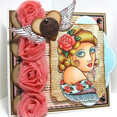 Images are by Bombshell Stamps and are colored with Copic Markers.