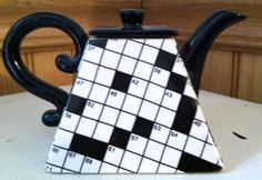 Fitz+and+Floyd+Collectibles | Vintage Fitz and Floyd Collectible Crossword Teapot