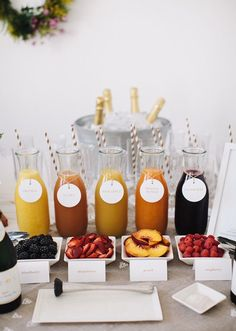 "DIY bellini bar! I also like to put together a ""champagne cocktail bar"" with less juice and more varied cocktail ingredients (e.g., liquors, bitters, and sugar cubes)"