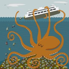 Giant octopus tips a ferry | Eli Griffith