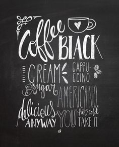 LostBumblebee ©2014 Chalkboard Coffee Handlettered by Melissa Baker-Nguyen -Free Printable Personal Use Only