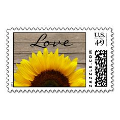 Shop Sunflower Wood Love Wedding Invitation Stamp created by ForBetterOrWorse. Personalize it with photos & text or purchase as is! Sunflower Wedding Invitations, Wedding Invitation Sets, Custom Wedding Invitations, Invitation Design, Wedding Stationery, Save The Date Stamp, Save The Date Invitations, Wedding Postage Stamps, Wedding Stamps