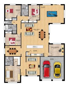 Cumberland 5 by Format Homes is a large single storey home. Simple House Plans, Family House Plans, New House Plans, Dream House Plans, House Floor Plans, 4 Bedroom House Plans, Bungalow House Plans, Double Storey House Plans, Casa Top