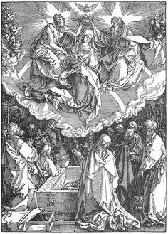 Life of the Virgin: 18. The Coronation of the Virgin. Durer. 1510. Woodcut. Graphische Sammlung Albertina. Vienna.