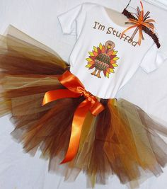 Thanksgiving Tutu set with I'm Stuffed Onesie and Matching headband - Personalized - custom- baby - toddler. $45.00, via Etsy.