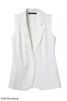 Colete Alfaiataria branco Blazer Vest, Blazer Outfits, Abaya Fashion, Fashion Outfits, How To Wear Blazers, Couture Tops, Classy Outfits, Coats For Women, Casual Looks