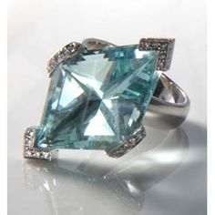 Aquamarine Ring  17ct Fancy Cut Aquamarine in custom-made Platinum and Diamond micro-pavé setting - Katherine Jetter Jewels