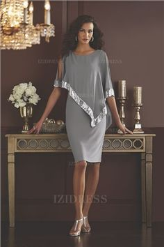 Sheath/Column Scoop Knee-length Chiffon Mother of the Bride Dress