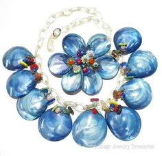 Vintage Miriam Haskell WWII Era Necklace Pin Blue Shell Glass Wired Beads RARE $202.49  basketcasedebra (seller) ebay.com:
