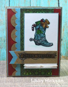 Texana Designs card designs by Design Team Member Libby Hickson using our Christmas Boot (small) and Merry Texmas (small).  Love it!