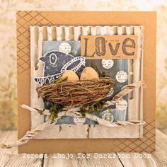 Card by Teresa Abajo using Darkroom Door Carved Birds Vol 1 Rubber Stamp Set & Alphabet Medley Stamp Set.