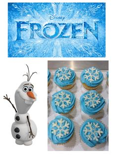 Here is a creation that I made from the inspiration of Disney's Frozen. The cupcakes are white vanilla with a snowy blue frosting and top. Disney Frozen Cupcakes, Olaf Cupcakes, Frozen Party Food, 9th Birthday Cake, Frozen Themed Birthday Party, Birthday Party Themes, Birthday Ideas, Frozen Party Invitations, Cake Pops