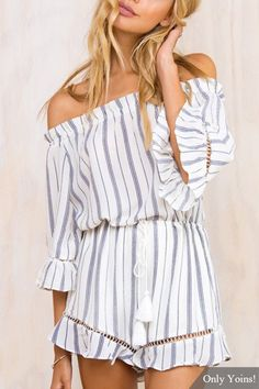 Stripe Pattern Off The Shoulder Drawstring Waist Playsuit with Flouncy Details £15