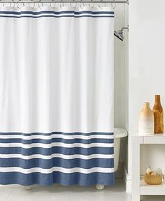 The Gradient Stripe Shower Curtain from Hotel Collection keeps your bath looking fresh and clean with a white ground and striped accents. Comes in three color options. Luxury Shower Curtain, Extra Long Shower Curtain, Black Shower Curtains, Vintage Bathrooms, Modern Bathroom, Bathroom Inspo, White Bathroom, Bathroom Inspiration, Pinterest Bathroom Ideas