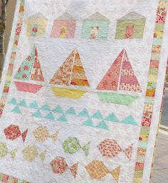 Pretty Little Quilts: Summer Beach Quilt Finished! Ocean Quilt, Beach Quilt, Fish Quilt, Quilt Baby, Sailboat Baby Quilt, Small Quilts, Mini Quilts, Children's Quilts, Bright Quilts