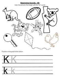 Pictures of things that start with k match k words match 10 words practice the letter k sound by having students color the items that start with the k sound for an added bonus students will tracewrite the altavistaventures Image collections