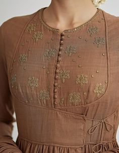 Buy Kaahi Brown Hand Embroidered Angrakha Set by Dhruv Singh Available at Ogaan Online Shop Neckline Designs, Dress Neck Designs, Blouse Designs, Kurta Designs Women, Salwar Designs, Indian Designer Outfits, Indian Outfits, Indian Dresses, Gala Design