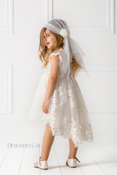 #AMALTHIA dress. A Victorian tail dress #design by #Alexandra Plati made of unique quality lace decorated with special embroidered patterns on soft tulle. Inner lining is 100% cotton. An haute couture impressive outfit for special occasions. #designersCat #KidsFashion #communie https://www.designerscat.com/collections/baptism-for-girls-summer-collection/products/amalthia-dress-hair-band?variant=24821782661
