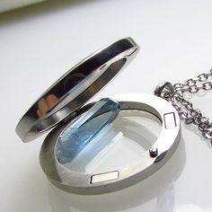 Unique Aquamarine Locket Pendant Natural Gem Crystal Vietnam Stones FREE SHIP bn #JewelsRoughGems