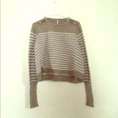 FREE PEOPLE striped sweater Grey/teal stripes with cute button detail on both shoulders. Kind of high/low design. Gently worn, very comfortable Free People Sweaters