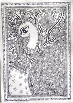 Wall pattern ideas hanging pictures ideas for 2019 Madhubani Paintings Peacock, Kalamkari Painting, Peacock Painting, Madhubani Art, Peacock Art, Gond Painting, African Art Paintings, Stippling Art, Folk Art Flowers