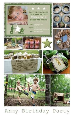 Army Birthday Party Inspiration. (We would do Marine Birthday Party instead of course)