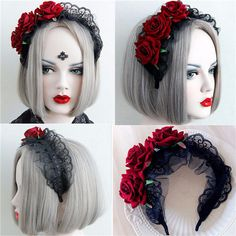 Women Handmade Lace Black Red Rose Flower Cosplay Headband Hair Band is cheap, see other hair accessories on NewChic. Red Rose Flower, Red Roses, Wedding Events, Wedding Decor, Halloween Party Costumes, Headband Hairstyles, Black Laces, Hair Band, Headpiece