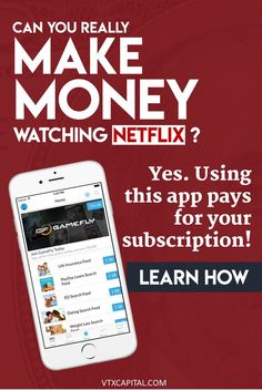 Did you know you can actually get paid to watch Netflix? Yep! Check out this app we love to use to earn a little extra change while we watch our favorite shows. netflix hacks | netflix codes | make extra money fast | make extra money at home | make extra money online | how to make extra money | make extra money ideas | ways to make extra money | make extra money smartphone | make extra money for men | make extra money apps | make extra money simple #makemoney #makemoneyonline…